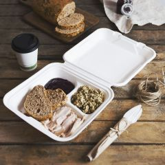 309658C 3 Compartment Lunchbox Clamshell (Vegware)